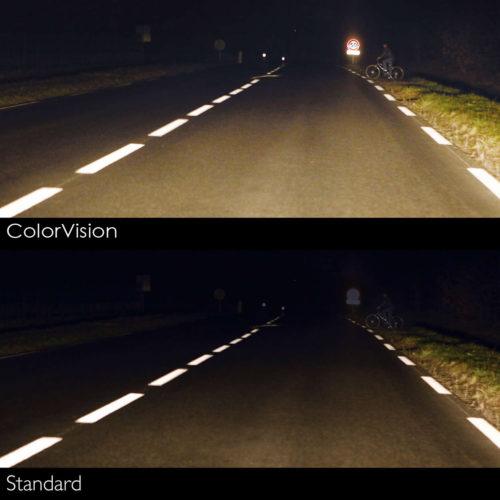 Сравнение свечение лампы COLOR VISION с стандартной лампой